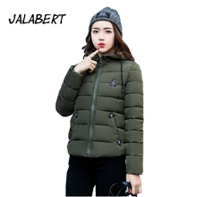 2017 winter new women short Slim Hooded thick Triangle pattern warm full cotton jacket female loose simple parkas coat