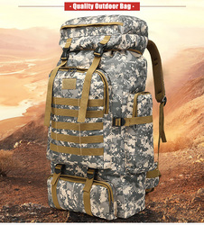 80L Outdoor Waterproof Climbing Hiking Military Tactical Backpack Bag Camping Mountaineering Molle 3P First aid kit Bag