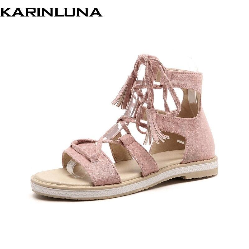 Karinluna 2018 été mode doux femmes cheville-Wrap sandales grande taille 34-43 talons bas plate-forme couverture talons chaussures femme décontractées