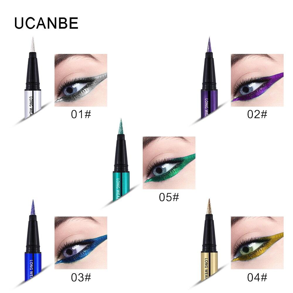 Ucanbe makeup glitter eyeliner pencil 5colors purple blue green eye liner waterproof long lasting liquid white eyeliner AU045 2