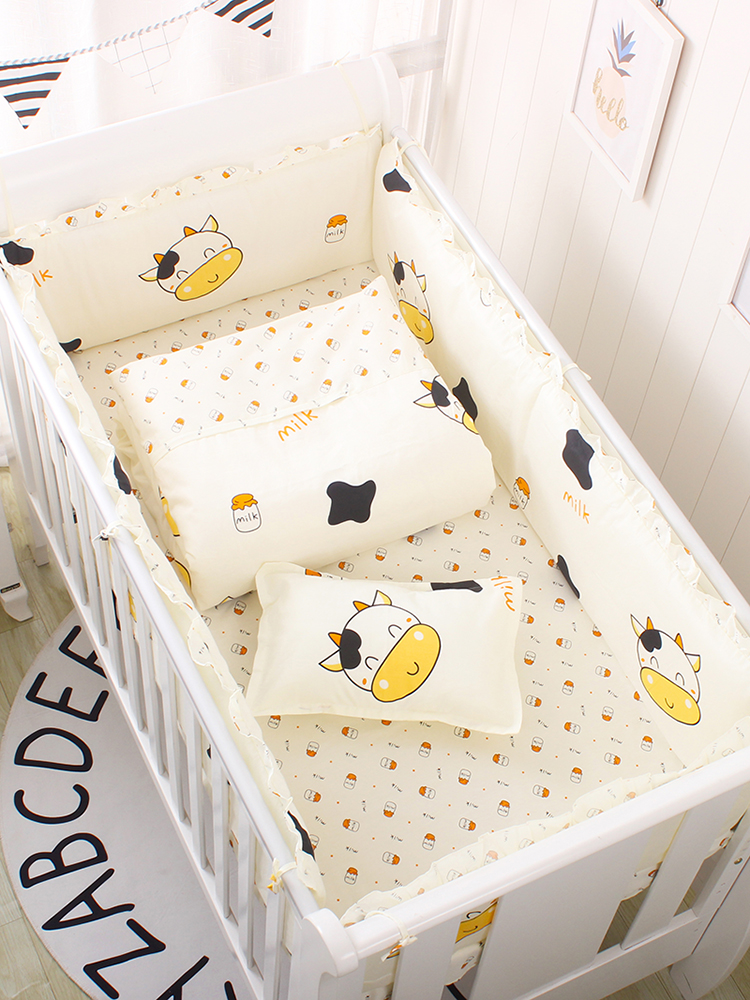 5Pcs Clouds Cotton Newborn Baby Bedding Set, Baby Crib Bedding Set Crib Bumper Set, Baby Cot Sets Includes Bed Bumpers+Bedsheet