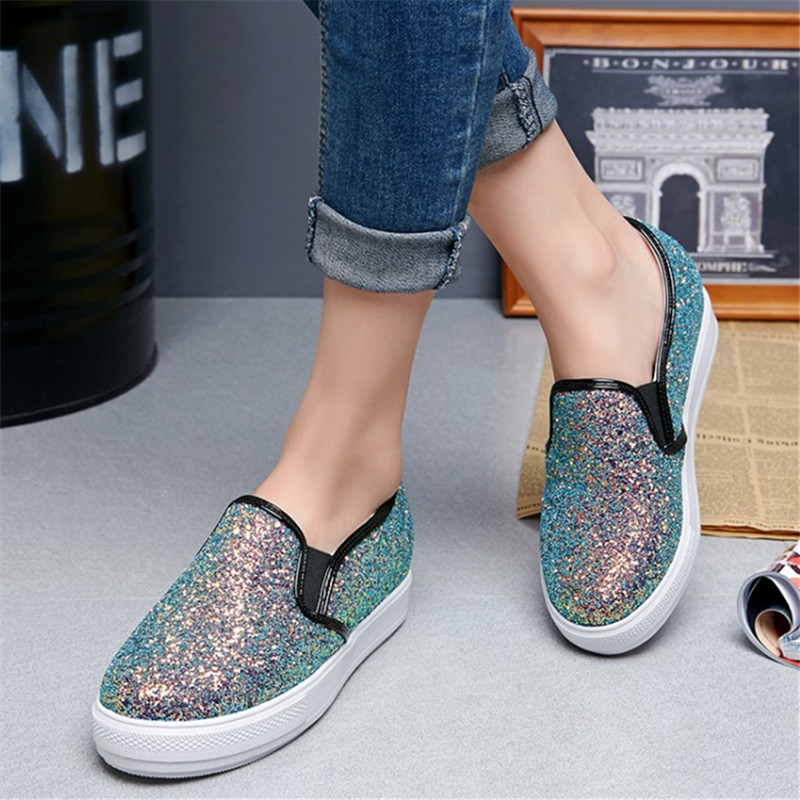Plus size 34-44 new Fashion heavy-bottomed shallow mouth of Flats shoes Platform Bling women shoes casual pedal Loafers Shoes fashion casual low top shoes heavy bottomed muffin shoes celebrity same paragraph with gold silver trainer shoes free shipping