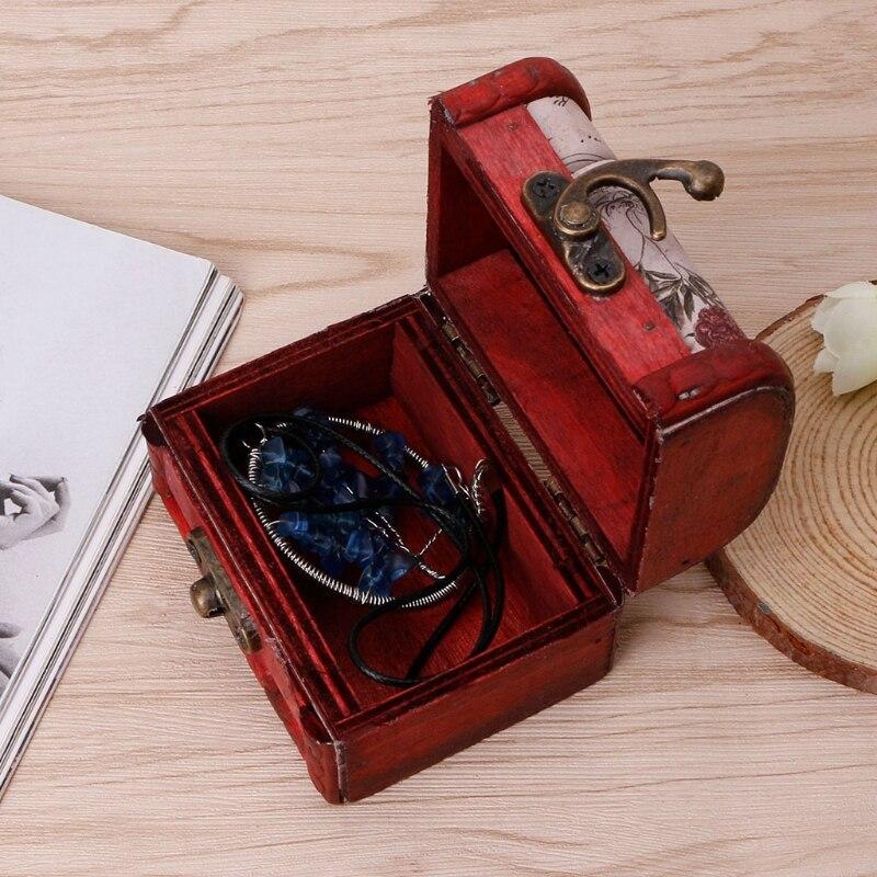 NEW Retro Wooden Storage Box Decorative Trinket Jewelry Organizer Handmade Case Trinket Jewelry Organize