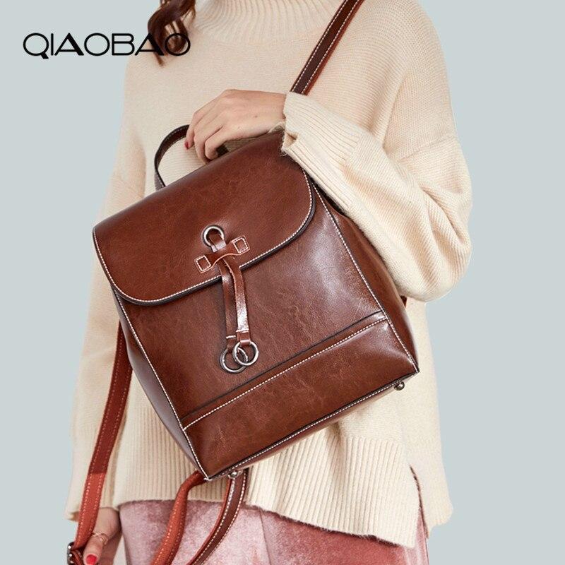 QIAOBAO Female Brand Cowhide Leather Women's Backpack Large Capacity School Bag For Girls Leisure Shoulder Bags Bagpack Mochila