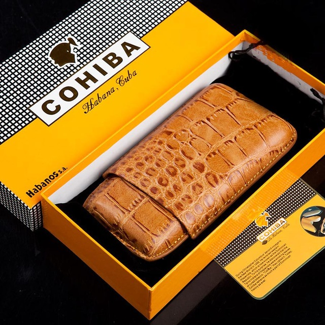 Travel Cigar Box Holder Case  Crocodile Leather Portable 3 Cigar Portable Outdoor Humidor With Pouch Box M1308CB10
