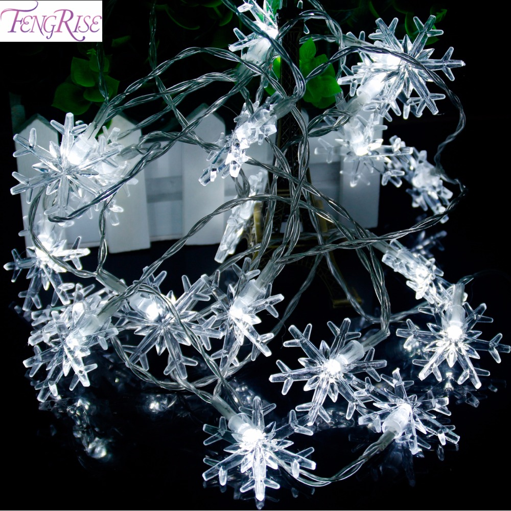 FENGRISE 20 LED Snowflake String Lamp Holiday Lighting Fairy Strings Romantic Wedding Decor Birthday Christmas Party Supplies
