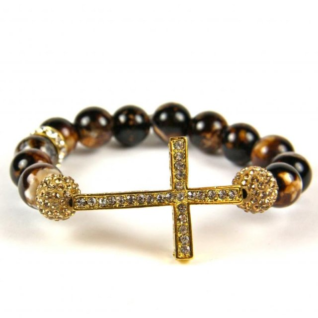 Wholesale NEW Bling SideWays Cross Bracelet Crystal Sideways Gold Agate Beads Bracelets , Faster Shipping,10pcs/lot