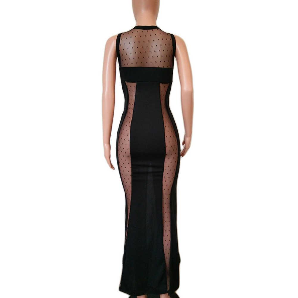 Сексуальное женское Макси платье из прозрачной сетки с глубоким v-образным вырезом без рукавов с разрезом Прозрачное платье на молнии тонкие вечерние Клубные Длинные платья Черное Vestidos 2019