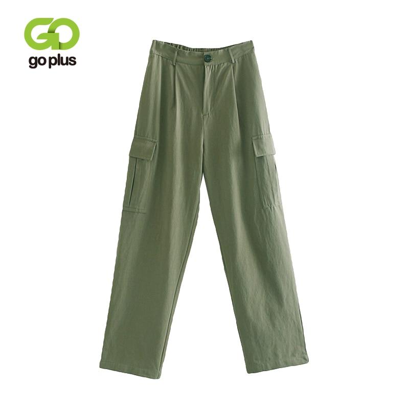 GOPLUS Green Empire   Wide     Leg     Pants   Women Pockets Cargo   Pants   2019 Spring Summer Elastic Waist Streetwear   Pants   Trousers C8960