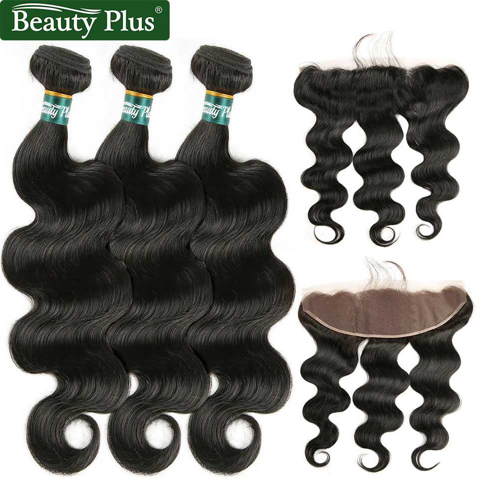 Body Wave Bundles With Frontal Pre Plucked Peruvian Human Hair Weave With Lace Closure Beauty Plus