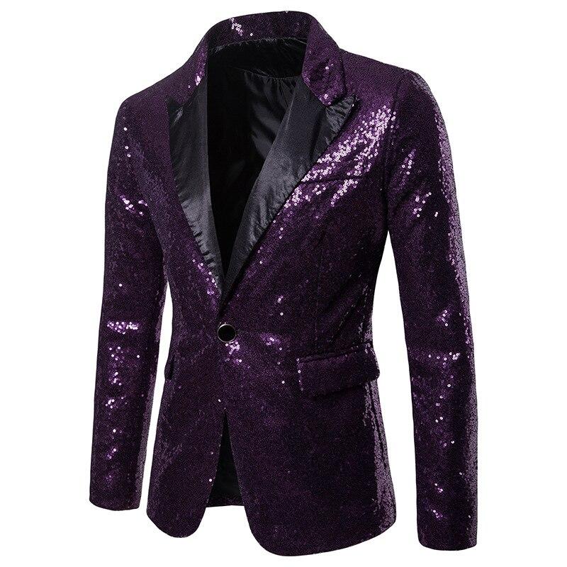 Блестящий блейзер с золотыми блестками, украшенный блестками, мужской пиджак для ночного клуба, выпускного вечера, мужской костюм, Homme, одеж... - 3