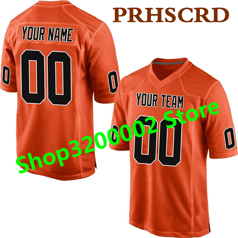 Customized Game Jersey Custom Any Name Any Number Stitched Cheap Orenge American football Jersey Top quality Game Jersey