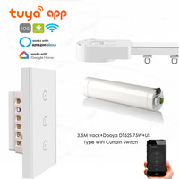 Tuya App Automatic Curtain Rails,Touch/wifi Control,DT52S 75W Motor+3.5M or Less Track+US wifi Curtain Switch,Google Home/Alexa