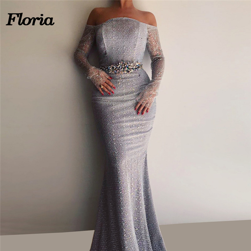 African Crystal Mermaid   Evening     Dresses   Dubai Arabic Party   Dress   Muslim Turkish Beadeds Kaftans Formal Prom Gowns Robe de soiree