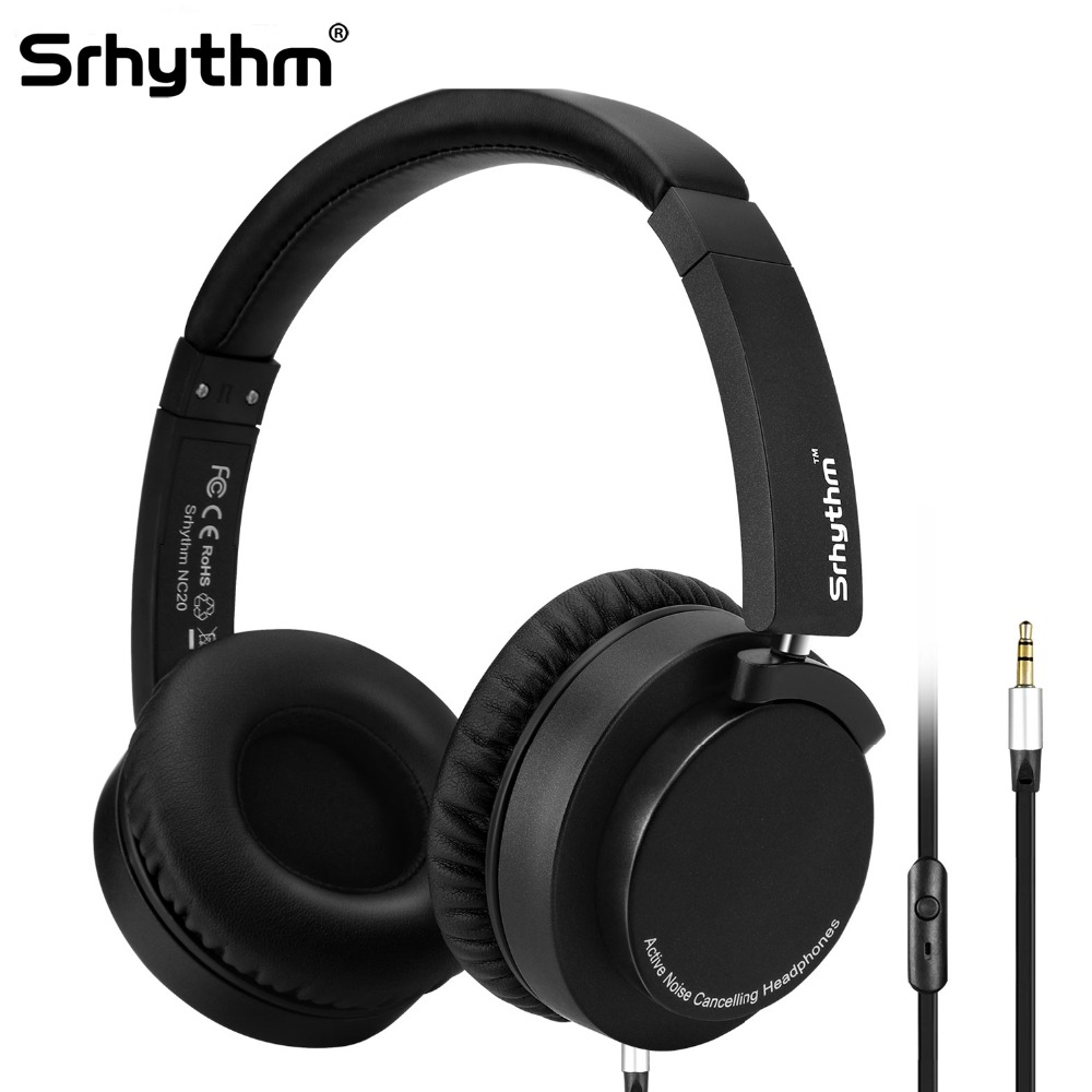 ANC Active Noise Cancelling Headphones Wired On Ear Foldable Hifi Earphones Deep Bass Headset with microphone For MP3 computer qkz kd8 dual driver noise isolating bass in ear hifi earphone for phone wired stereo microphone control headset for music