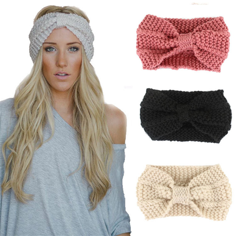1 PC Fashion Headband Winter Women Lady Warmer Crochet Bowknot Turban Knitted Head Wrap Hairband Handmade Headhand Accessories ...