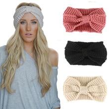 1 PC Fashion Headband Winter Women Lady Warmer Crochet Bowknot Turban Knitted Head Wrap Hairband Handmade Headhand Accessories