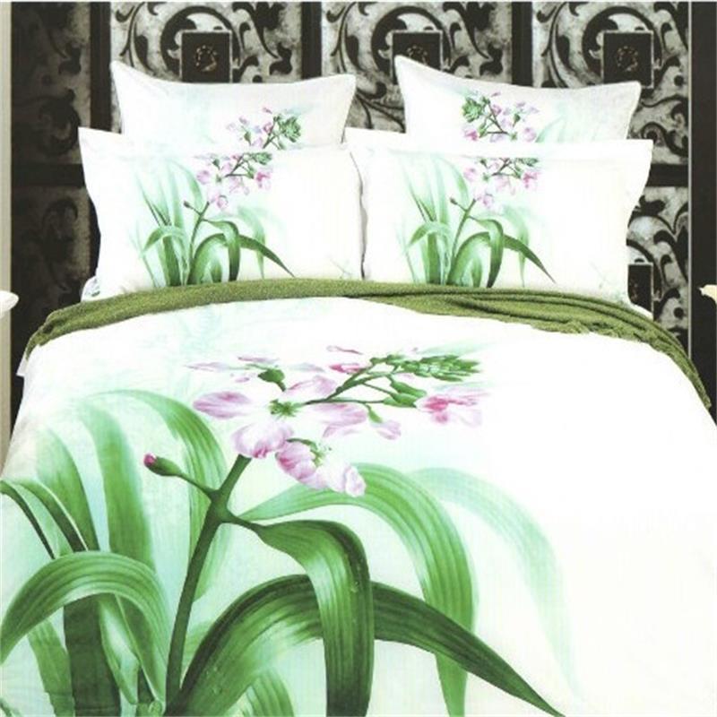 Orchid flower green leaf design 100 cotton bed linen for Bed sheet design images