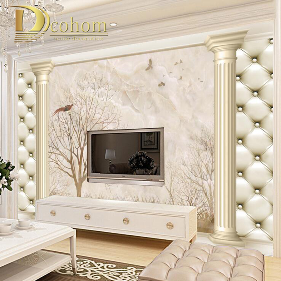 Customize Size 3D european Soft Case landscape Bedroom TV Background Wall Paper Home Decor Living Room Non-woven Mural Wallpaper