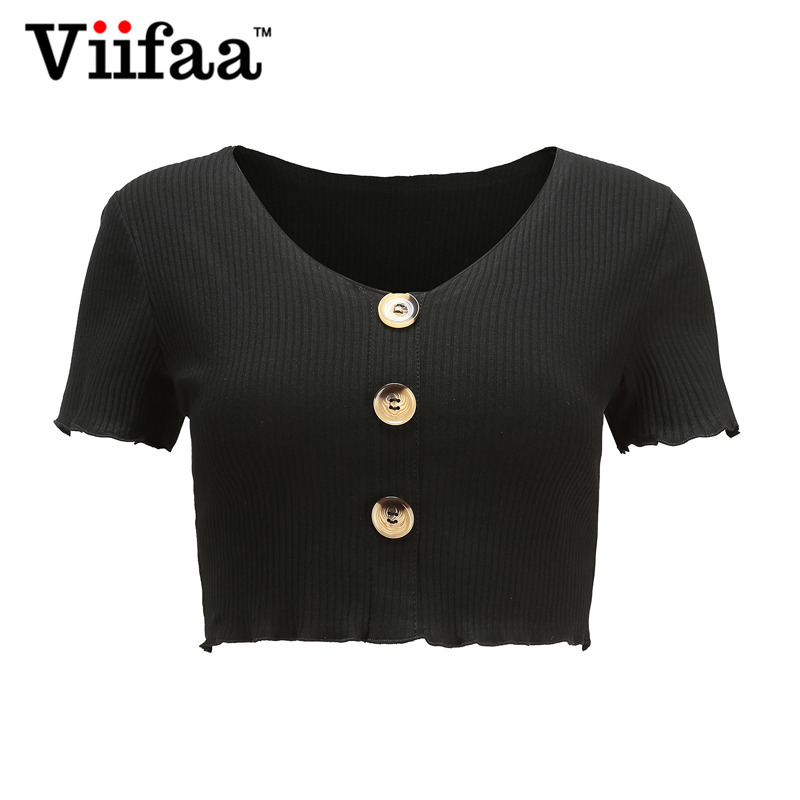 4276535d5094 Viifaa Short T Shirt Women Burgundy V Neck T Shirt 2018 Summer Decorative  Button Sexy Streetwear Knitted Tees-in T-Shirts from Women's Clothing on ...
