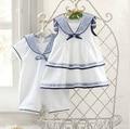 2015 marinero recién nacido infantil mamelucos del verano del estilo 100% del algodón del nuevo diseñador ropa del niño blanco kids costume menina roupas recem