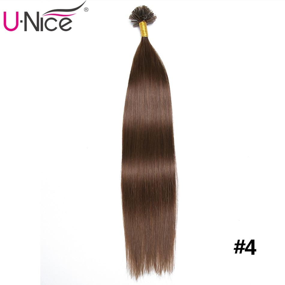 "Unice Hair 18"" 20"" 22"" 24"" 50g Italian Keratin Nail Tip U Tip Hair Extensions 0.5g/s Brazilian Remy Human Hair Black Blonde"