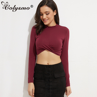 GB74 Womens Vintage Mock Neck Front Criss Cross Long Sleeve Crop Top Combed Cotton Blouse Shirt