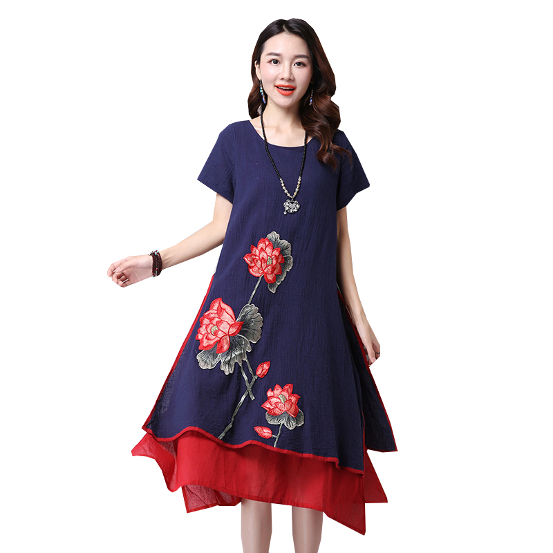 2017 New Cheap Plus Size Short Sleeves Vintage Medieval: 2017 New Summer Dress Ethnic Vintage Embroidery Dresses