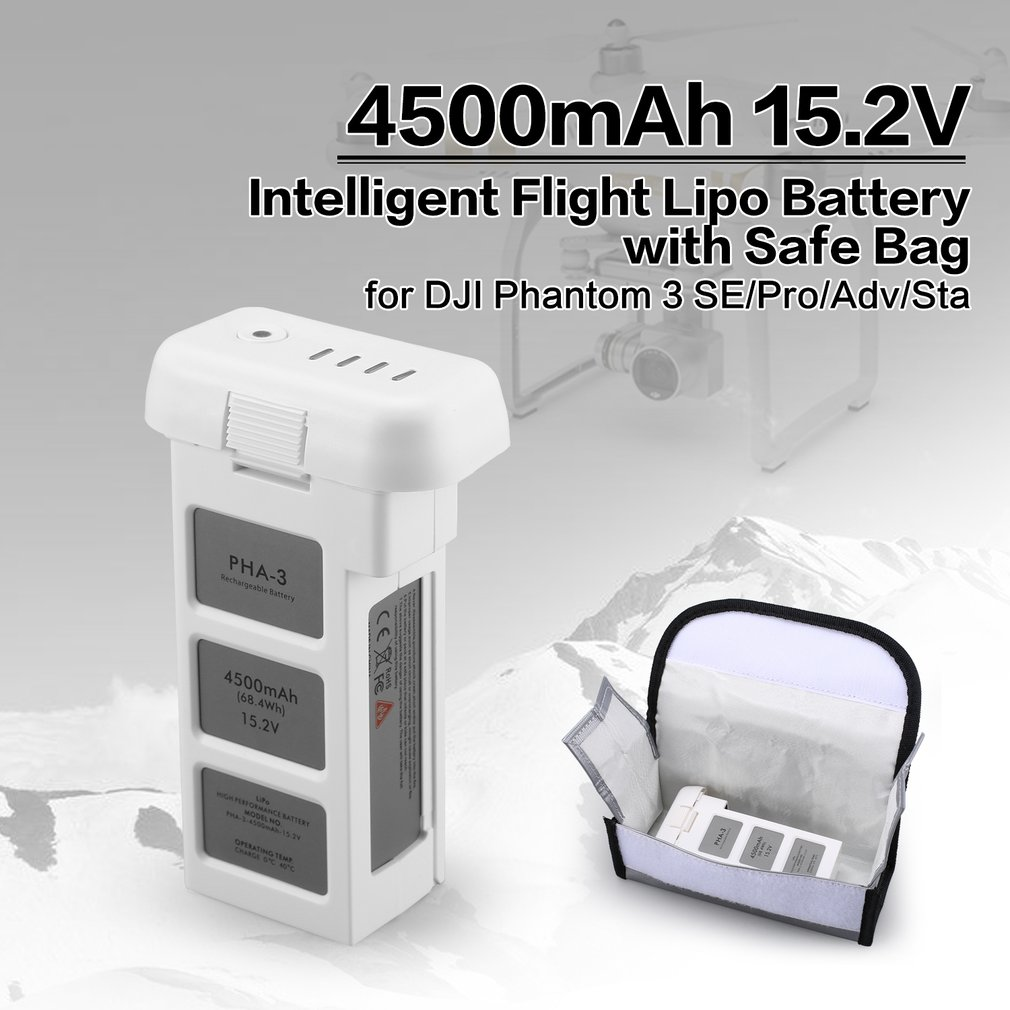 цена на 4500mAh 15.2V 4S Intelligent Flight LiPo Battery with Safe Bag for DJI Phantom 3 SE Professional Advanced Standard RC Drone
