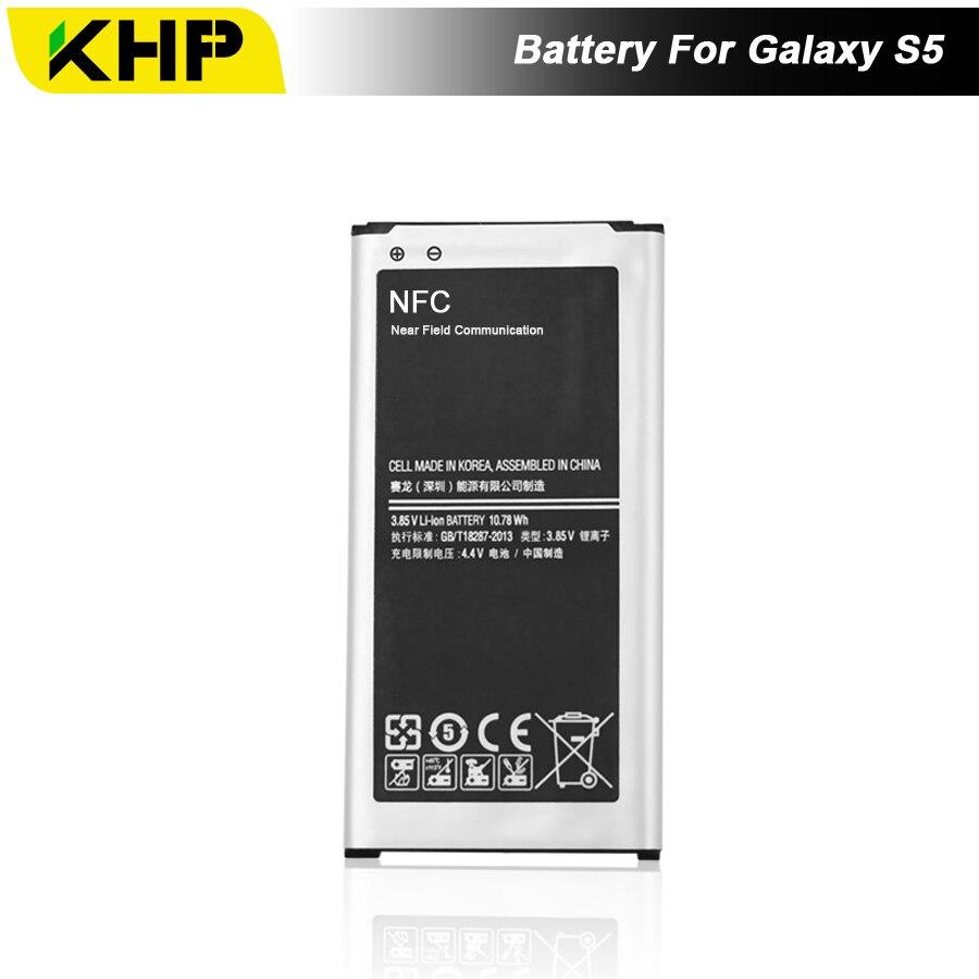 NEW 2017 100% Original KHP Bateria Do Telefone Para Samsung Galaxy i9600 S5 G900S G900F EB-BG900BBC Substituição Da Bateria Bateria Móvel