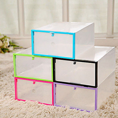 Clear Transparent Drawer Case Plastic Shoe Boxes Storage Organizer Stackable Box