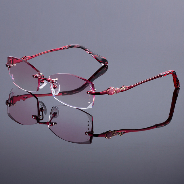 Rich Red Women Rimless Frame Women Titanium Alloy Optical Frame Diamond Trimming Cut Rimless Glasses With Gradient Tint Lenses