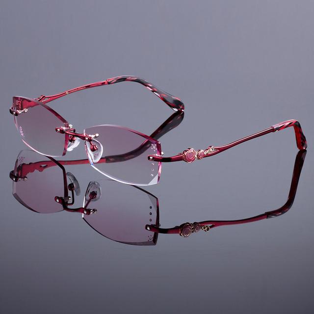Vermelho rico das mulheres liga de armação sem aro mulheres titanium frame ótico óculos sem aro de diamante corte corte com lentes gradiente matiz