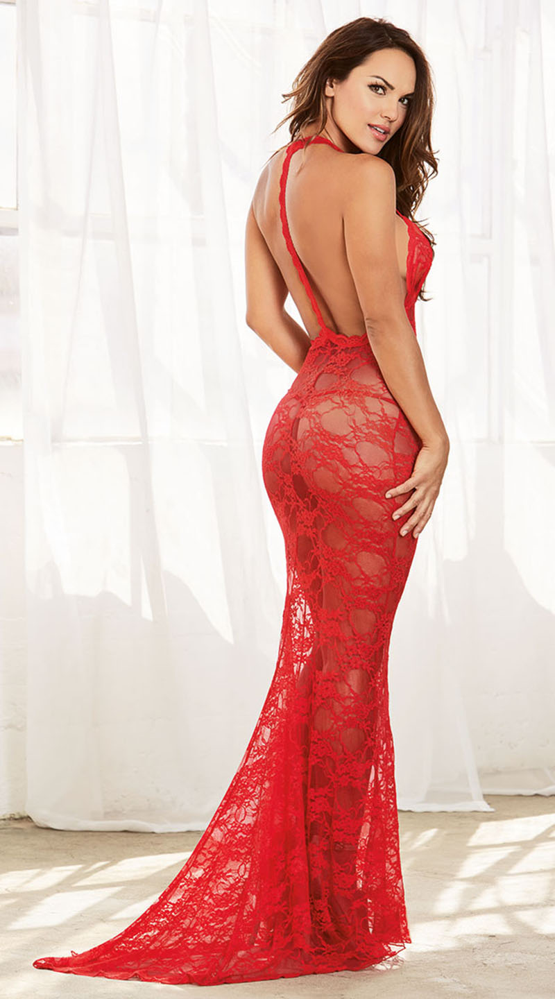 in red dress porn
