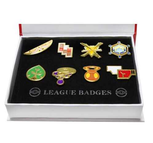 High Quality 8Pcs/Lot Pokemon Badge Brooch Pocket Monster Kanto 8 Metal League Badge Pin Pip Gen Red Cosplay Prop Collection