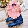 La moda de Nueva Primavera y Otoño Ropa de Bebé Niño Set Corbata a rayas Blusa + Traje de Pantalones vaqueros Niños Ropa Niños Boy trajes de caballero