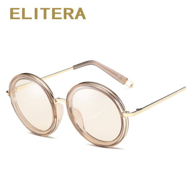 ELITERA Sunglasses for Women Round Sunglasses Driving Luxury Brand Coating mirror Sun Glasses Women female Eyewear