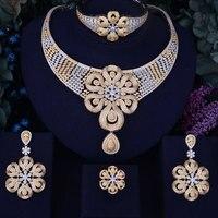 GODKI Rose Flower Leaf Luxury Women Nigerian Wedding Naija Bride Cubic Zirconia Necklace Dubai 4PCS Dress Jewelry Set