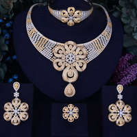 GODKI Rose Flower Leaf Luxury Women Nigerian Wedding Naija Bride Cubic Zirconia Necklace Dubai 4PCS Dress Jewelry Set
