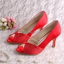 Wedopus Custom to Make Red Satin Lady Wedding Shoes Peep Toes 8CM Heel Size 8