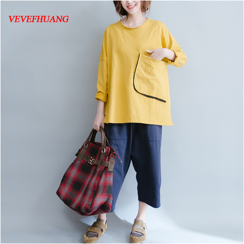 Big Size Womens Tops Long Sleeve Yellow Red Black Cotton Loose Pocket 2018 Summer New Arrived