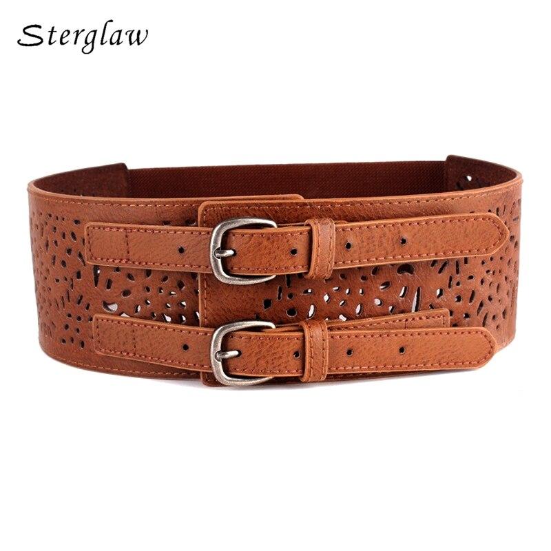 Retro designer fashion hollow waist   belts   women dresses 2018 wide brown elastic female   belt   ceinture femme de marque N038