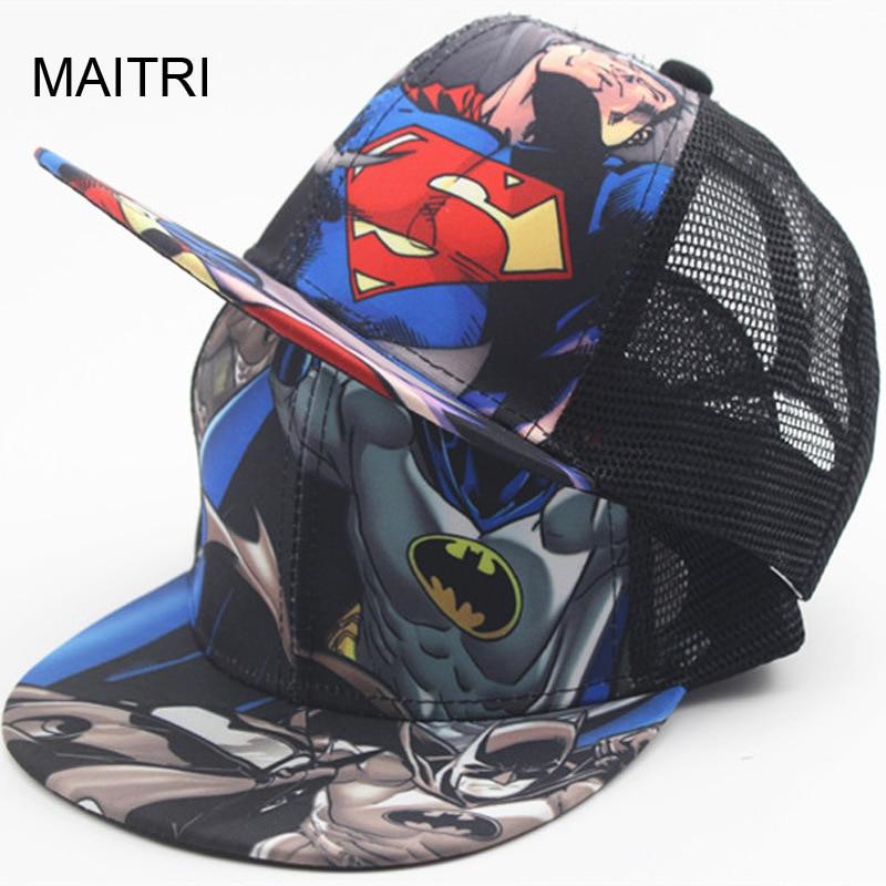2018 New Kids Baseball Caps Fashion Superman Batman Children Snapback Caps Gorras  Planas Boys Hip Hop Hat Mesh Summer Hats 2318 3d3fbbbeb80