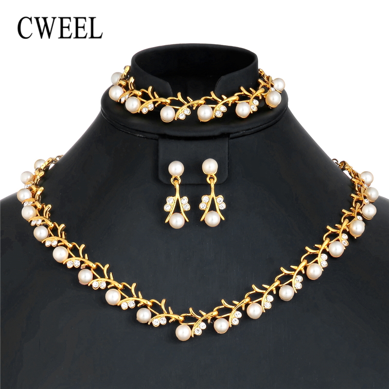 CWEEL Imitation Pearl Jewelry Sets Turkish Silver Gold Color Jewellery Sets For Women Wedding Party African Beads Jewelry Set