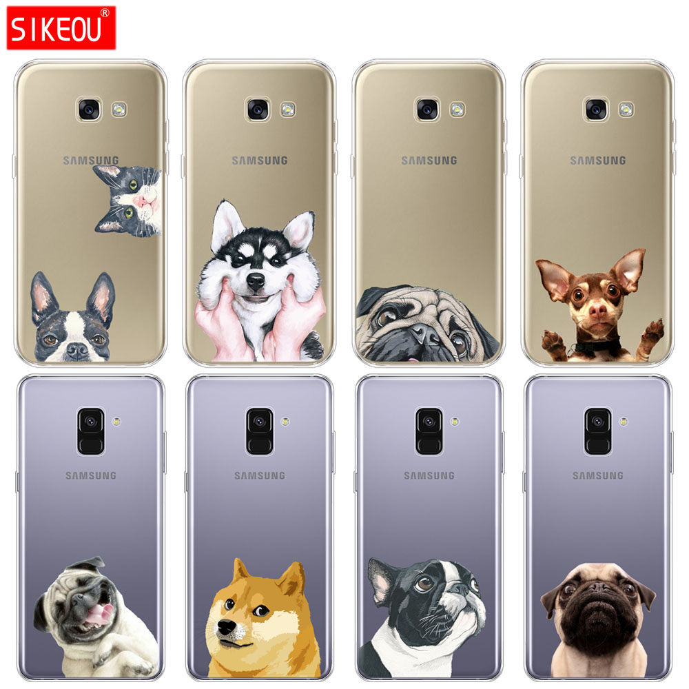 Silicone <font><b>phone</b></font> <font><b>case</b></font> cover for <font><b>Samsung</b></font> <font><b>Galaxy</b></font> A6 A8 2018 <font><b>A3</b></font> A310 A5 A510 A7 2016 <font><b>2017</b></font> <font><b>Dog</b></font> and cat husky akita bulldog back <font><b>case</b></font> image