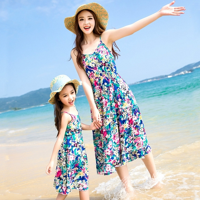 Free Shipping New summer Family look clothing casual Blue flower ...