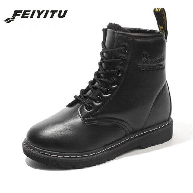 feiyitu Student hairy flat bottom short boots women winter thickening  Martin boots white red black round 5e1c5797b4