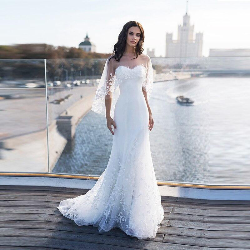 Verngo 2019 New Mermaid Wedding Dress Elegant Appliqued Lace Bridal Gown Customized Vestido De Noiva