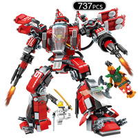 737pcs Ninjaed Movie Red Mech Building Blocks Compatible Legoed Ninjagoes Kai Fire Robot Figures Bricks Educational Toys For Kid
