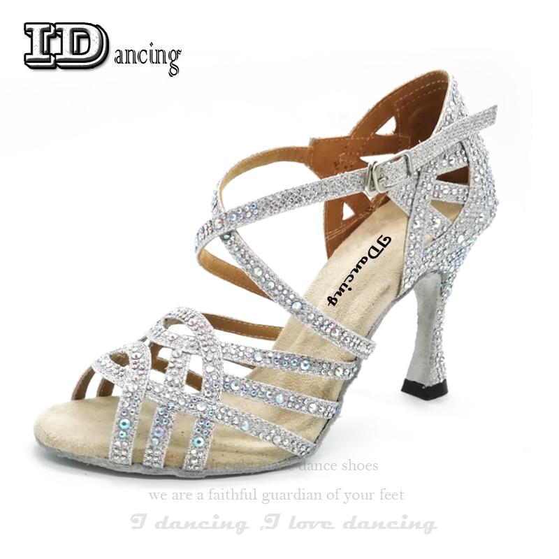 663fa11f71 IDancing Rhinestone Latin Dance Shoes Pearl High Heel Waltz Software Shoes